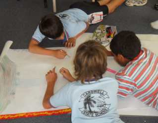 Cardwell State School students starting their drawing.