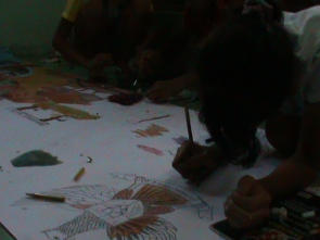 Keningar Primary School working on theor own symbols on their drawing.